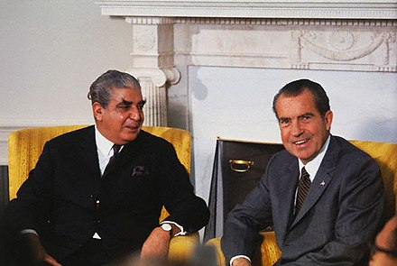 The Nixon administration was widely criticised for its close ties with the military junta led by General Yahya Khan. American diplomats in East Pakistan expressed profound dissent in the Blood Telegram. Yahya and Nixon.jpg