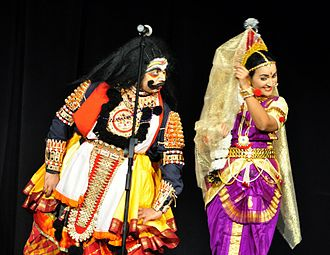 Mohini - Bhasmasura and Mohini as depicted in Yakshagana