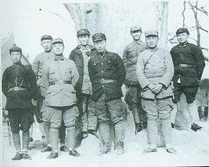 Wang Shoudao - February 1936,Red 1st Army、Red 15th Army部分领导干部在Shaanxi淳化合影。Front row from left:Wang Shoudao、Yang Shangkun、Nie Rongzhen、Xu Haidong.Back row from left:Luo Ruiqing、Cheng Zihua、Chen Guang、Deng Xiaoping.