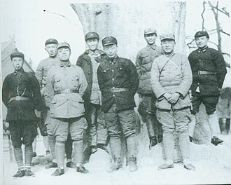 Wang Shoudao - February 1936,Red 1st Army、Red 15th Army部分领导干部在Shaanxi淳化合影。Front row from left:Wang Shoudao、Yang Shangkun、Nie Rongzhen、Xu Haidong.Back row from left:Luo Ruiqing、Cheng Zihua、Chen Guang、Deng Xiaoping.