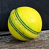 Yellow cricket ball at North Middlesex Cricket Club, Crouch End, London.jpg