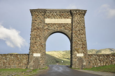 The Roosevelt Arch is located in Gardiner, Montana at the north entrance Yellowstone North Gate.jpg