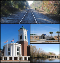 Images from top, left to right: Railroad in Yulee, Robert M. Foster Justice Center, Yulee High School, Tributary of the Nassau River