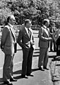 Zbigniew Brzezinski, Jody Powell, and others at the arrival of Anwar Sadat at Camp David, September 5, 1978 (10729718193).jpg