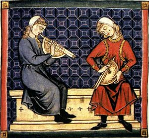 Double clarinet - Medieval Zummara playing (on the left)