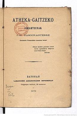 """""""Atheka-gaitzeko oihartzunak"""" liburuaren 150. urteurrena"""