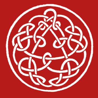 "Later versions of Discipline featured this knotwork design by Steve Ball. ""Possible Productions knotwork"" by Steve Ball.png"