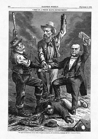"Thomas Nast - September 1868 Nast Cartoon ""This is a White Man's Government!"" showing left to right a stereotyped Irishman (perhaps representing the Democratic Party), an ex-Confederate soldier (Nathan B. Forrest), and a capitalist (Cornelius Vanderbilt) ""triumphing"" over a prostrate USCT soldier on the ground."