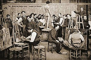"Academic art - Students painting ""from life"" at the École. Photographed late 1800s."