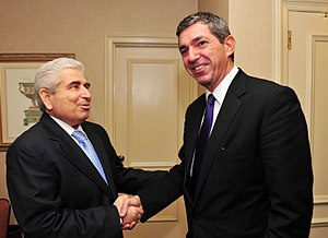 Progressive Party of Working People - Foreign Minister of Greece Stavros Lambrinidis and President of Cyprus Demetris Christofias during his tenure in New York City in October 2011