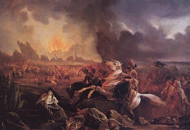 Η επίθεση του Ιμπραήμ Πασά κατά του Μεσσολογγίου. Λάδι. Giuseppe Mazzola.