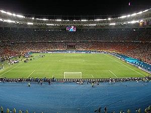 Football in Ukraine - NSC Olimpiyskiy Stadium in Kiev, venue for the UEFA Euro 2012 final game.