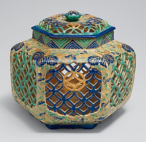 Kiyomizu ware - Ko-Kiyomizu (old Kiyomizu) lidded brazier (te-aburi) with paulownia and geometric design, stoneware with overglaze enamels and gold, Edo period, 18th century