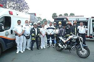 Law enforcement in Mexico City - Firefighters and Paramedics of the Escuadrón de Rescate y Urgencias Médicas (ERUM) in ITESM Campus.