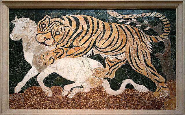 Une histoire de tigre et de veau au musée du Capitale à Rome. Photo de Jean-Pol Grandmont.