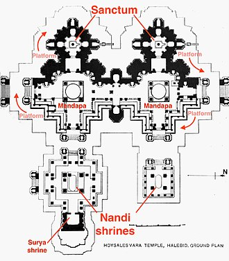 Hoysaleswara Temple - 12th century Halebid Shiva temple plan annotated
