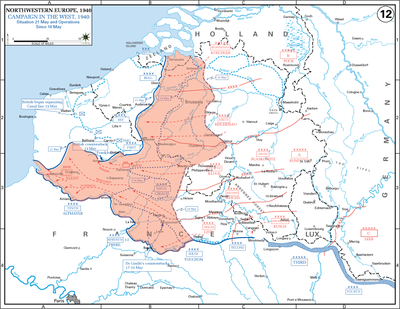 The operating area of the various Belgian, British, and French field armies and Army groups are shown in blue. The German field armies and Corps are shown in red. The red area denotes the territory captured by Germany between 16–21 May 1940.