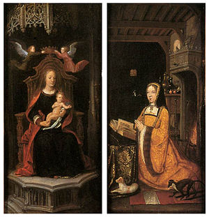Margaret of Austria, Duchess of Savoy - Image: 16th century unknown painters Diptych with Margaret of Austria Worshipping WGA23613