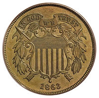 "Similar to adopted two-cent piece, but dated ""1863"""