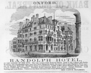 Macdonald Randolph Hotel - Advertisement for the Randolph Hotel in the Harper's Hand-book for Travellers in Europe and the East (1885).