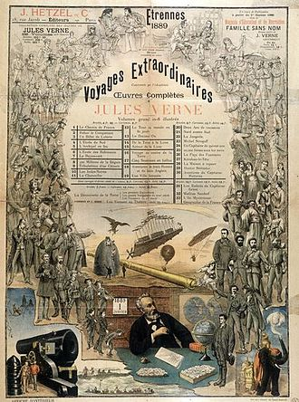 Jules Verne - An 1889 Hetzel poster advertising Verne's works