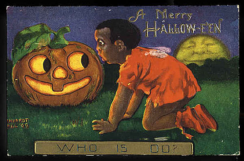 1909 Halloween card with African American girl