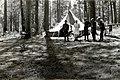 1923. Campfire scene. Hay Creek Unit. Southern Oregon Northern California beetle control project. (33627747105).jpg