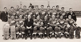 Detroit Red Wings - Team photo of the 1952 Detroit Red Wings. They won their fifth Stanley Cup that year.