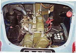 Renault 4CV - The longitudinally-mounted rear engine (1960 750 cc)