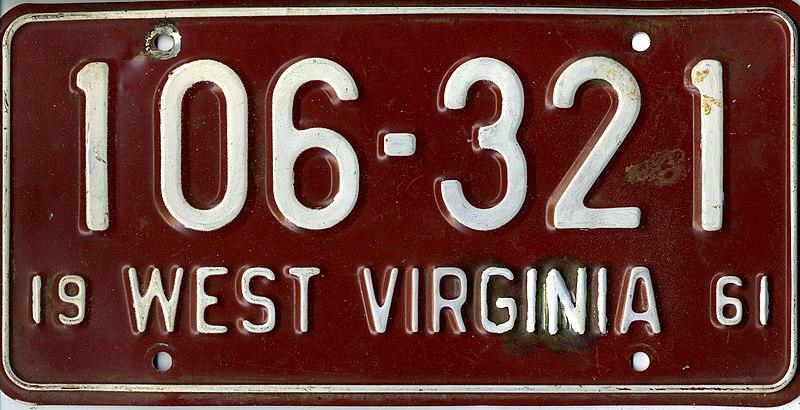File:1961 West Virginia license plate 106-321.jpg