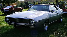 "Shows a 1971 AMC Javelin SST with optional ""canopy"" vinyl-covered roof"
