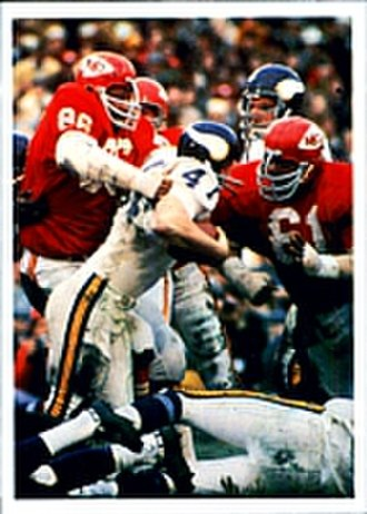 Super Bowl IV - The Chiefs defense stopping a Vikings' rushing play during Super Bowl IV.