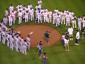 2004 Major League Baseball All-Star Game - All-Star Game participants gather around the mound before the first pitch.