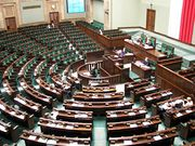 Chamber of the Sejm showing semicircle seating pattern.