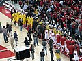 20100120 Michigan Wolverines and Wisconsin Badgers shake hands after game.jpg