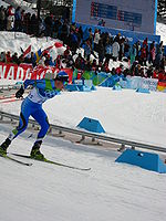 Jaakko Tallus at the 2010 Winter Olympics druring second part of Individual large hill / 10 km event