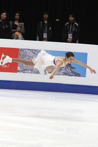 Single skating - Alissa Czisny performing a jump during her short program at the 2011 Four Continents Figure Skating Championships