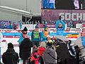 2014 WOG Biathlon Women Relay Flower Ceremony - Ukraine 02.JPG