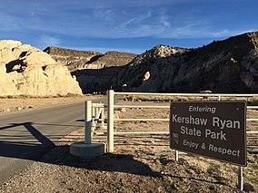 2015-01-15 15 21 40 Sign at the main entrance to Kershaw Ryan State Park, Nevada.JPG