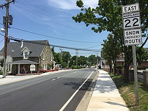 Maryland Route 22 - MD 22 eastbound past US 1 Business and MD 924 in Bel Air
