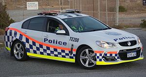Police transport - A Holden Commodore police car of the Western Australia Police