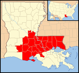 2016 Louisiana floods map of parishes declared federal disaster areas.png
