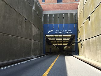 Chesapeake Bay Bridge–Tunnel - View south entering the Thimble Shoal Channel Tunnel