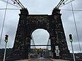 2017-07-23 12 07 37 View east along West Virginia State Route 251 (Wheeling Suspension Bridge) crossing the Ohio River from Wheeling Island to downtown Wheeling in Ohio County, West Virginia.jpg