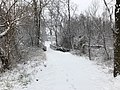 2018-03-21 08 55 59 View along a snow-covered walking path as it crosses a bridge in the Franklin Farm section of Oak Hill, Fairfax County, Virginia.jpg