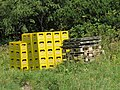 2018-08-29 (174) Murauer Beer crates and transport pallet piles at Seehütte at Rax, Austria.jpg