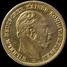20 M Gold Kaiser Wilhelm I. von Preussen B 76
