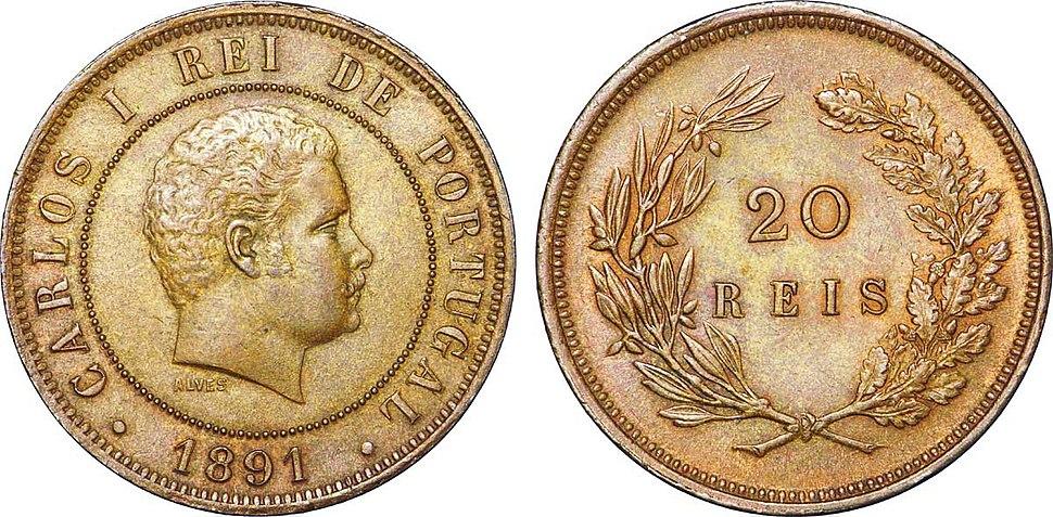 20 Réis à l'effigie de Charles Ier, 1891
