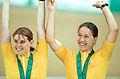 231000 - Cycling track Tania Modra Sarnya Parker celebrate gold - 3b - 2000 Sydney podium photo.jpg
