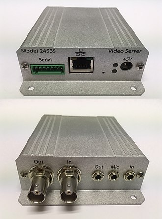 Video server - Front and back views of a small IP video server with audio and composite video inputs (Sensoray 2453S)